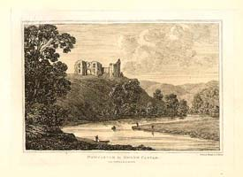 Newcastle in Emlyn. Ref: 6129 A line engraving by J. Hinchcliffe after Henry Gastineau. Circa 1835. The colouring is later.