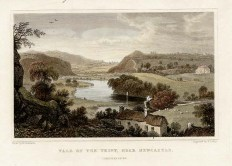 Vale of the Teify near Newcastle. Ref: 6130 An antique line engraving by S. Lacey after Henry Gastineau. Circa 1835. The colouring is later.